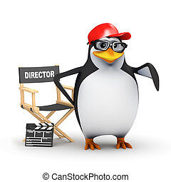 3d Academic penguin directs his latest movie - 3d render of...