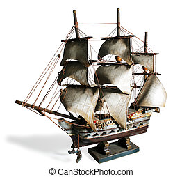 Model Boat - Old model of a sail boat in a white background