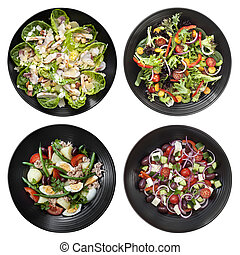 Set of Different Salads on White Background - Set of...