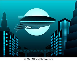 Science fiction illustration. Zeppelin in front of urban...