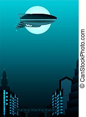 Science fiction poster design. Zeppelin in front of urban...