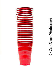 Stack of red Plastic cups isolated against a white background