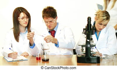Scientists working in a laboratory and supervisor - Young...