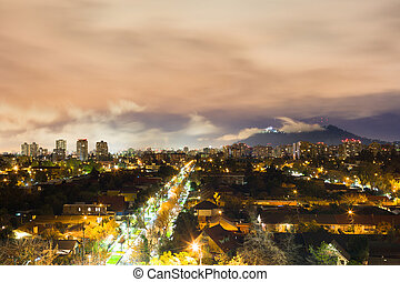 Night view of Santiago de Chile at Las Condes district