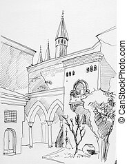 Ink sketch of Istanbul Topkapi museum inner yard with...
