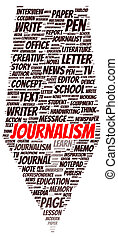 Journalism word cloud shape
