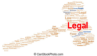 Legal word cloud shape concept