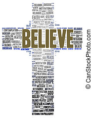 Believe word cloud shape