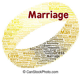 Marriage word cloud shape concept