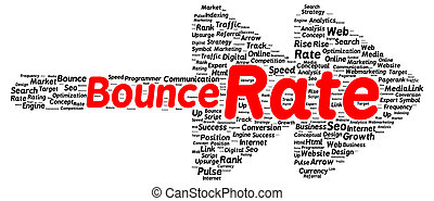 Bounce rate word cloud shape concept