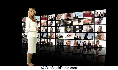 Woman looking at screen