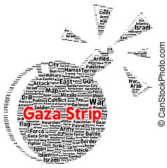 Gaza strip word cloud shape concept