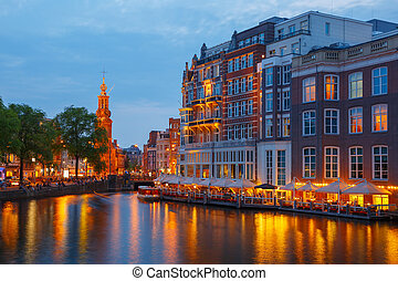 Night city view of Amsterdam canal, and bridge - Night city...