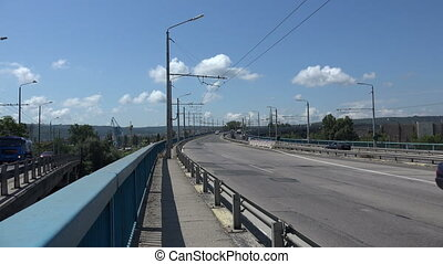 Asparuhov bridge in Varna Bulgaria Shot in 4K ultra-high...