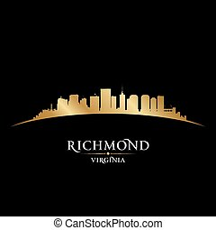 Richmond Virginia city silhouette black background -...