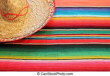 Traditional Mexican fiesta poncho rug in bright colors with...