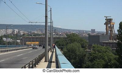 Asparuhov bridge in Varna. Bulgaria. 4K. - Asparuhov bridge...