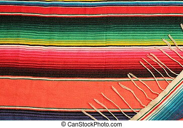Mexico fiesta poncho rug in bright stripe background with...