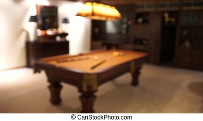 Pool Table - A shot that goes in focus to show a pool table...