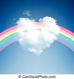 Heart Shape Cloud with Rainbow - Heart Shape Cloud on blue...