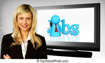 Woman on front of Jobs Sign - Young attractive businesswoman...