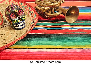 Mexico Fiesta Background with skull sombrero and trumpet