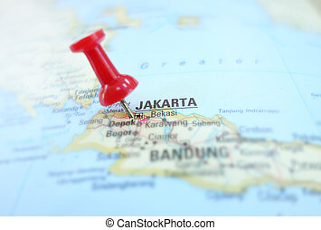 Jakarta - Closeup of a map of Jakarta Indonesia, and red pin...
