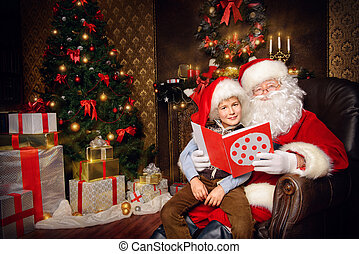 children santa - Santa Claus in his everyday clothes in...