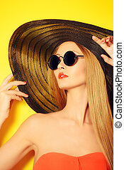balck sunglasses - Portrait of a stunning fashionable lady...