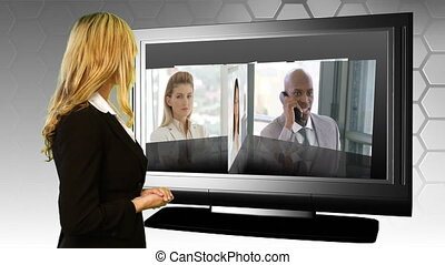 Woman looking at her team - Young businesswoman looking at...