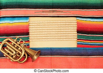 Mariachi frame Mexico fiesta poncho rug in bright stripe trumpet background with copy space