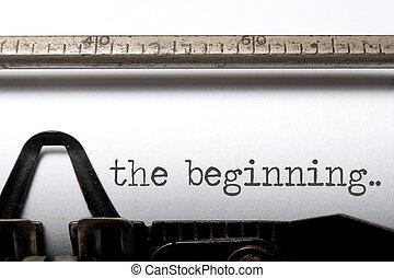 The beginning printed on an old typewriter