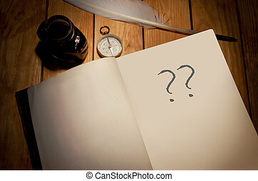 Writers block - Question marks handwritten in a book
