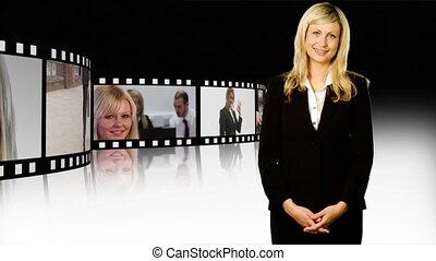 Business woman with thumb up - Blonde business woman with...