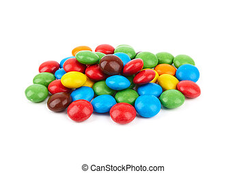 candies - colorful chocolate buttons on a white background
