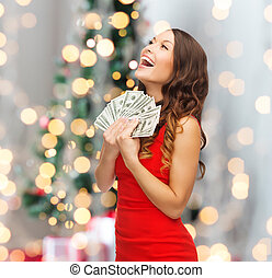 woman in red dress with us dollar money - holidays, sale,...