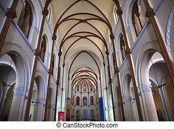 Notre Dame Catherdral Inside Basilica Saigon Vietnam