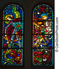 Knights and Dragons Stained Glass, Notre Dame Cathedral, Nha...