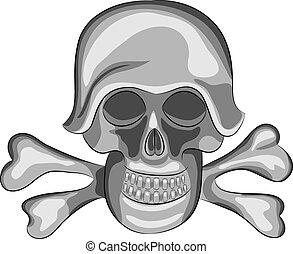 Vector skull - vector human skull and bones in a helmet...