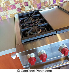 Gas stove in a modern kitchen