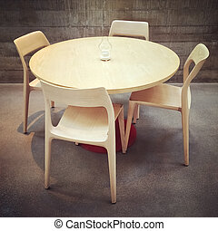 Dining table and chairs, modern design