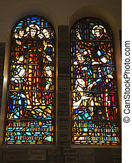 Notre Dame Catherdral Monk Stained Glass Saigon Vietnam