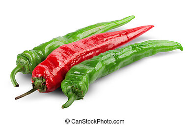chili pepper - Red and green chili pepper isolated on white...