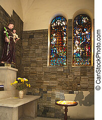 Notre Dame Catherdral Monk Statue Stained Glass Saigon Vietnam