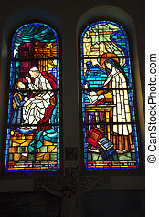 Notre Dame Catherdral Pope Nun Stained Glass Saigon Vietnam