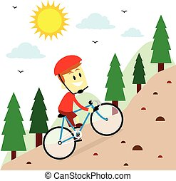 Mountain Biking - A Man do Mountain Biking in Flat Cartoon...