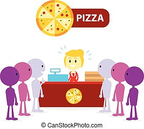 Long Queue at Pizza Counter