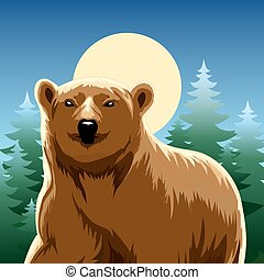 brown bear - vector illustration of brown bear against pine...