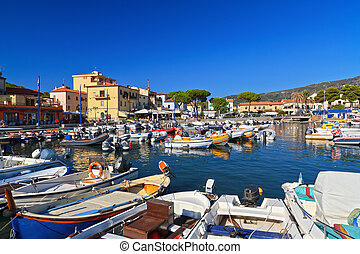 Marina di Campo - Elba island - harbor and promenade in...