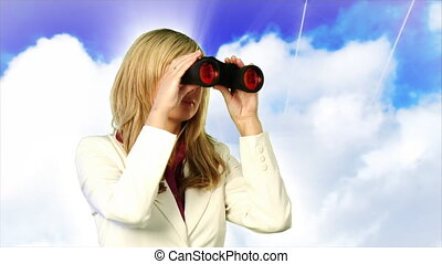 Business woman looking through binoculars - Young business...